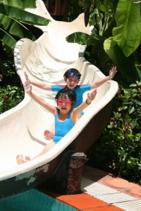 kids on water slide